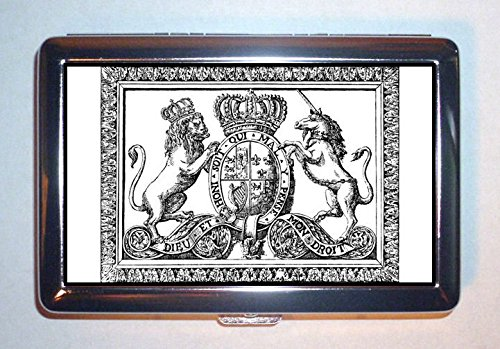 - 18th Century English Royal Crest Coat of Arms Stainless Steel ID or Cigarettes Case (King Size or 100mm)