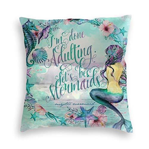 Cozy Velvet Throw Pillow Cover Case, Sea Horse Starfish Mermaid Siren Dolphin Deep Sea Fan Art Breathable Cushion Cases, Stylish Decorative Square Pillowcase for Bedding Bar Halloween Gif