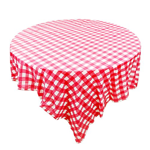 Popmall Party Table Covers, 10 pcs Premium Plastic Dark red Checkered BBQ Tablecloth - Gingham Checkerboard Disposable Plastic Tablecloth 78 inch