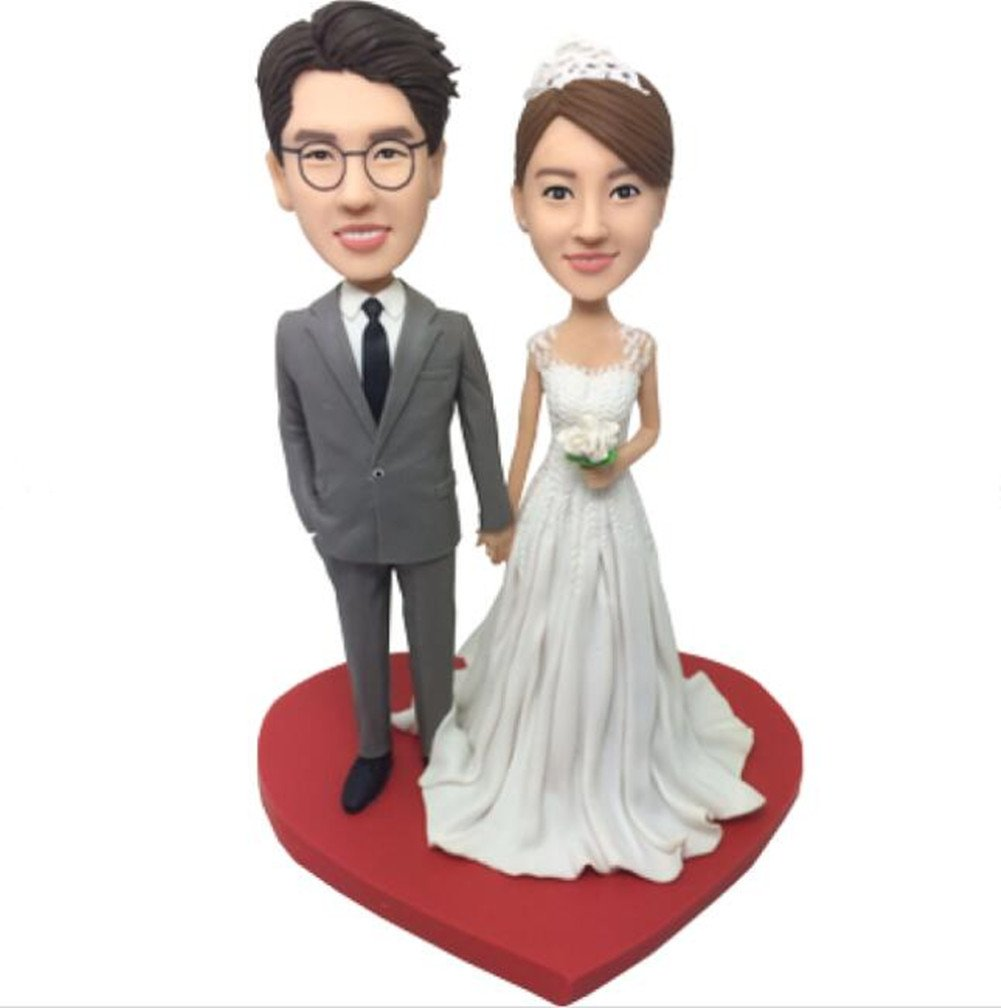 Create Your Own Happy Wedding Bobble head Polymer Clay Bobbleheads Cake Toppers by MiniBobbleheads