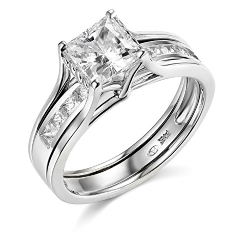 TWJC 14k White Gold SOLID Princess Square Engagement Ring & Wedding Band Set - Size 5.5