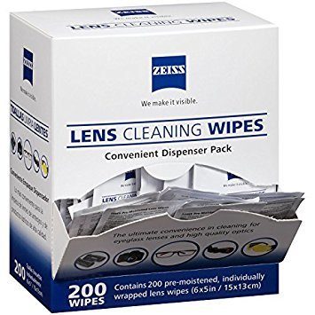 Zeiss Pre-Moistened Lens Cleaning Wipes - Cleans Without Streaks for Eyeglasses and Sunglasses - (200 - Shop Eyeglasses Glass