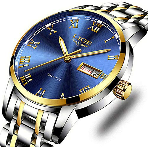 LIGE Men Watch Fully Automatic Mechanical Tungsten Steel Watches Stainless Steel,100M Waterproof Automatic Winding Large dial Wrist Watch Fashion Business Style Blue Watches for Men