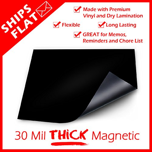 BigTime Magnetic Refrigerator Dry Erase Flexible Magnet Board   Use w/ Fluorescent or Neon Liquid Chalk Markers   Blank Small Solid Black Photo #3
