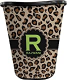 RNK Shops Granite Leopard Waste Basket - Single Sided (Black) (Personalized)