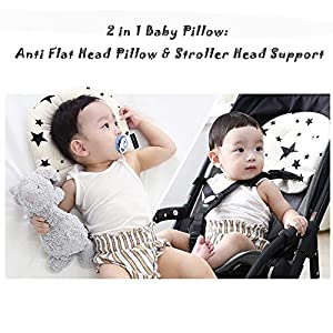 Baby Head Shaping Pillow – Ultra Soft Organic Cotton Sleeping Head Support, Baby Head Support Pillow Prevent and Avoid Flat Head Syndrome, Breathable 3D Air Mesh Head Neck Pillow for Stroller