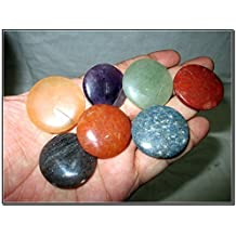 Fantastic Chakra Gemstone Disc Round Stone Set Palm Worry Stone Thumb Stone Crystal Therapy Geometry Platonic Solid Sacred Air Water Earth Fire Hexagon Tetrahedron Hexahedron Icosahedron Square Octahedron Pentagon Star Merkaba Amethyst Lapis Lazuli Green Aventurine Red Jasper Yellow Aventurine Quartz Crystal Healing Chakra Balancing Unique Rare Energy Love Divine Spiritual Psychic Arch Angel Christmas Gift India Gemstone Original Authentic Genuine Crystals Stress Free Relaxation Concentration Business Success Meditation Positive Power Peace Prosperity Health Wealth Family Bonding Relationship