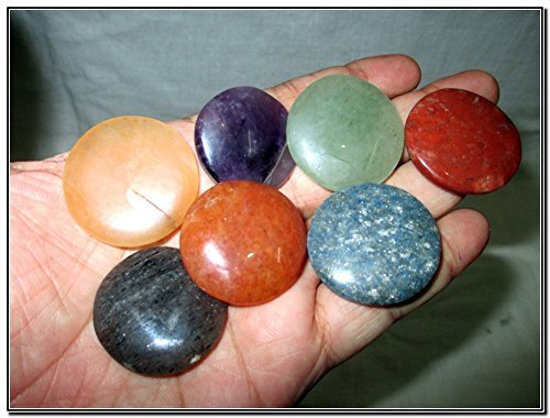 Fantastic Chakra Gemstone Disc Round Stone Set Palm Worry Stone Thumb Stone Crystal Therapy Geometry Platonic Solid Sacred Air Water Earth Fire Hexagon Tetrahedron Hexahedron Icosahedron Square Octahedron Pentagon Star Merkaba Amethyst Lapis Lazuli Green Aventurine Red Jasper Yellow Aventurine Quartz Crystal Healing Chakra Balancing Unique Rare Energy Love Divine Spiritual Psychic Arch Angel Christmas Gift India Gemstone Original Authentic Genuine Crystals Stress Free Relaxation Concentration Business Success Meditation Positive Power Peace Prosperity Health Wealth Family Bonding Relationship - Round Crystal Disc