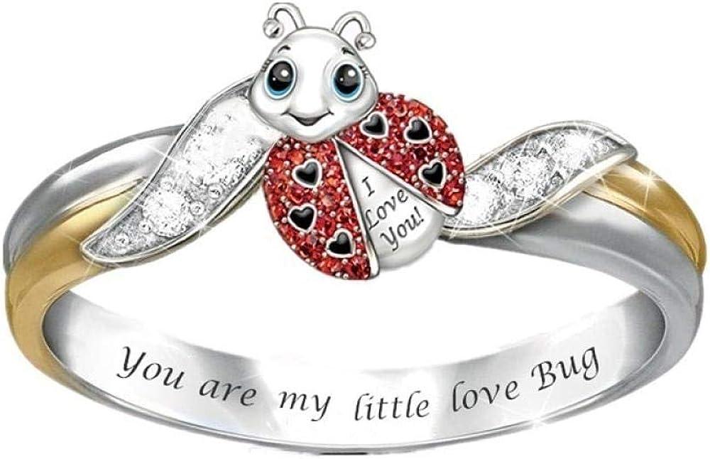 XRRRO Pendientes de Perlas de Flores Pendientes de pétalos de Dama de Moda-Anillo de Mariquita_Número 5