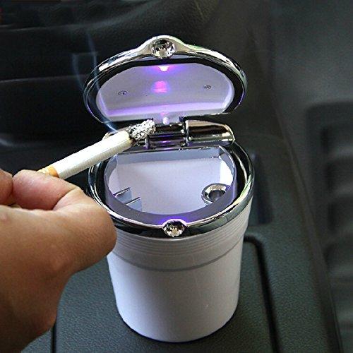 KDL Cigarette Ashtray Portable Stainless Holder Cup Car Travel LED Blue Light£¨White £