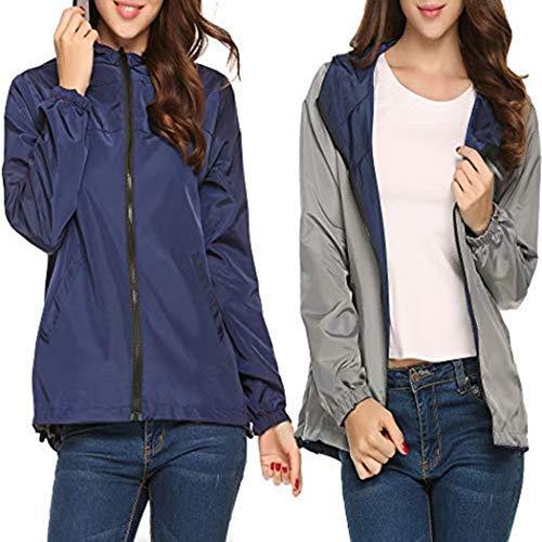 (UNibelle Women's Windbreaker Sportswear Women's -Size Splash A Little Rain Jacket(Navy Blue Grey,XX-Large))