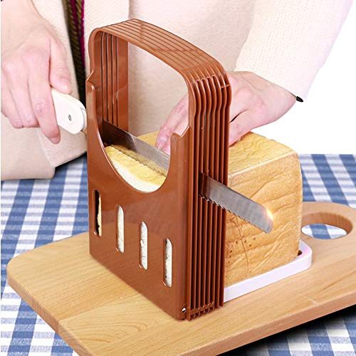 Adjustable Foldable Bread Slicer Guide Cutting Board For Homemade Bread Loaf Bagel Cake Sandwish Toast Compact Cutter Mold with 4 Slice Thickness ()