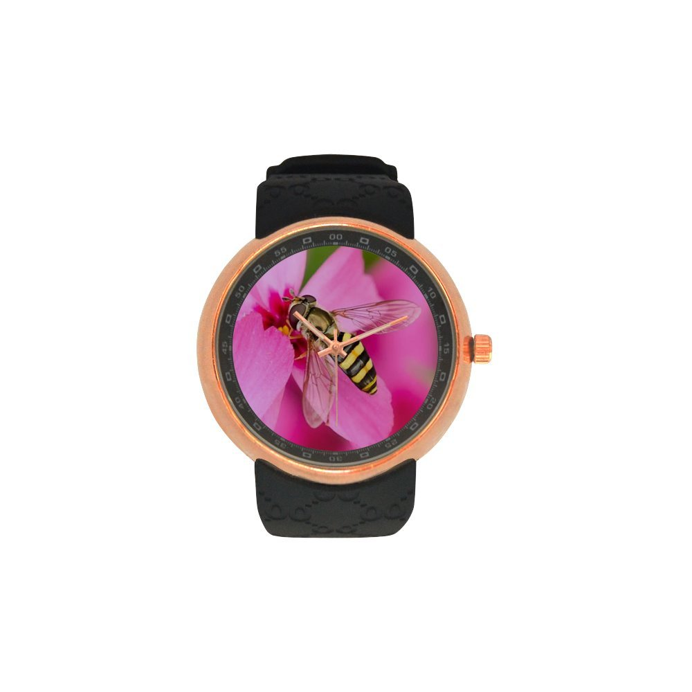 Valentine's Day Gift Beautiful Honeybee and Flowers Men's Rose Gold Plated Resin Strap Watch