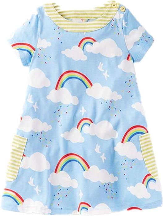 3cd1b02437 Frogwill Toddler Girls Short Sleeve Printed tunic blue rainbow T Shirt Dress  2T