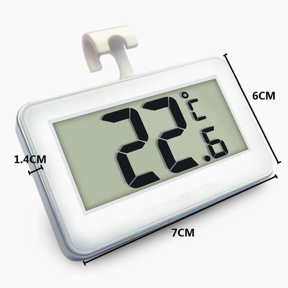 Snner Termómetro del Refrigerador Mini LCD Digital Resistente Al Agua Nevera Congelador Termómetro Monitor Portátil De Frost Alarma De Temperatura (Blanco)