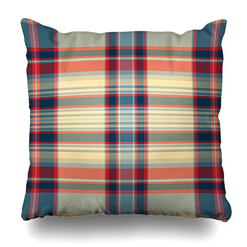 Ahawoso Throw Pillow Cover Pillowcase Pattern Abstract Check Color Plaid Gingham Checkered Garment Design Home Decor Design Square Size 16