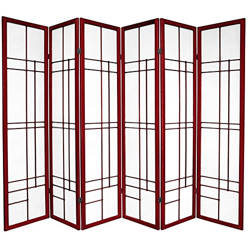 Oriental Furniture 6 ft. Tall Eudes Shoji Screen - Rosewood - 6 Panels