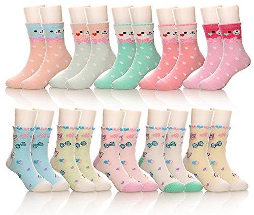 10 Pack Kids Girls Boys Toddler Little Socks Soft Cotton Cute Breathable Crew Socks (8-12 Years, Bear/Rabbit) ()