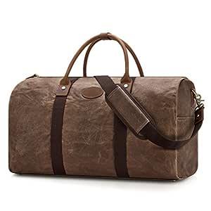 Plambag Water-Repellent Canvas Duffel Bag, Leather Trim Travel Carryon Handbag Shoulder Bag(Coffee)