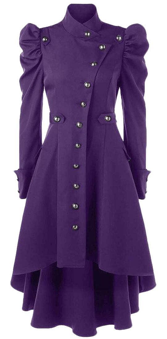 Purple Zantt Women's Steampunk Single Breasted Gothic Victorian Long Lolita Overcoat Jacket
