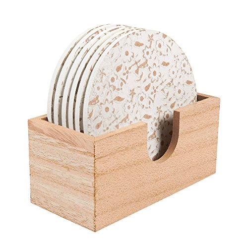- Juvale Wood Coasters - 6 Pack Round Wooden Coasters with Holder, White Floral Design, 3.8 Inches Diameter