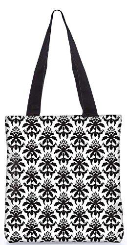 """Snoogg Dunkle Schwarze Muster-Einkaufstasche 13,5 X 15 In """"Shopping-Dienstprogramm Tragetasche Aus Polyester Canvas"""