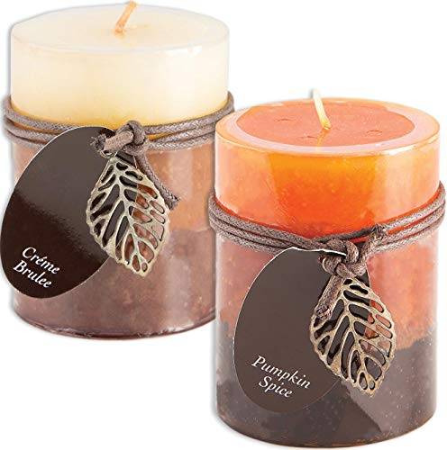 Creme Brulee and Pumpkin Spice Scented Candles Set Bundle of 2 Decorative Layered Pillar Candles 3 x 4 Inches