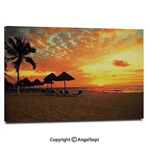 Home Decoration Painting Wall Mural Sunset Scene at Beach Resort Silhouette Romantic Honeymoon Vacation Photo Print Living Room Dining Room Studying Aisle Painting,16
