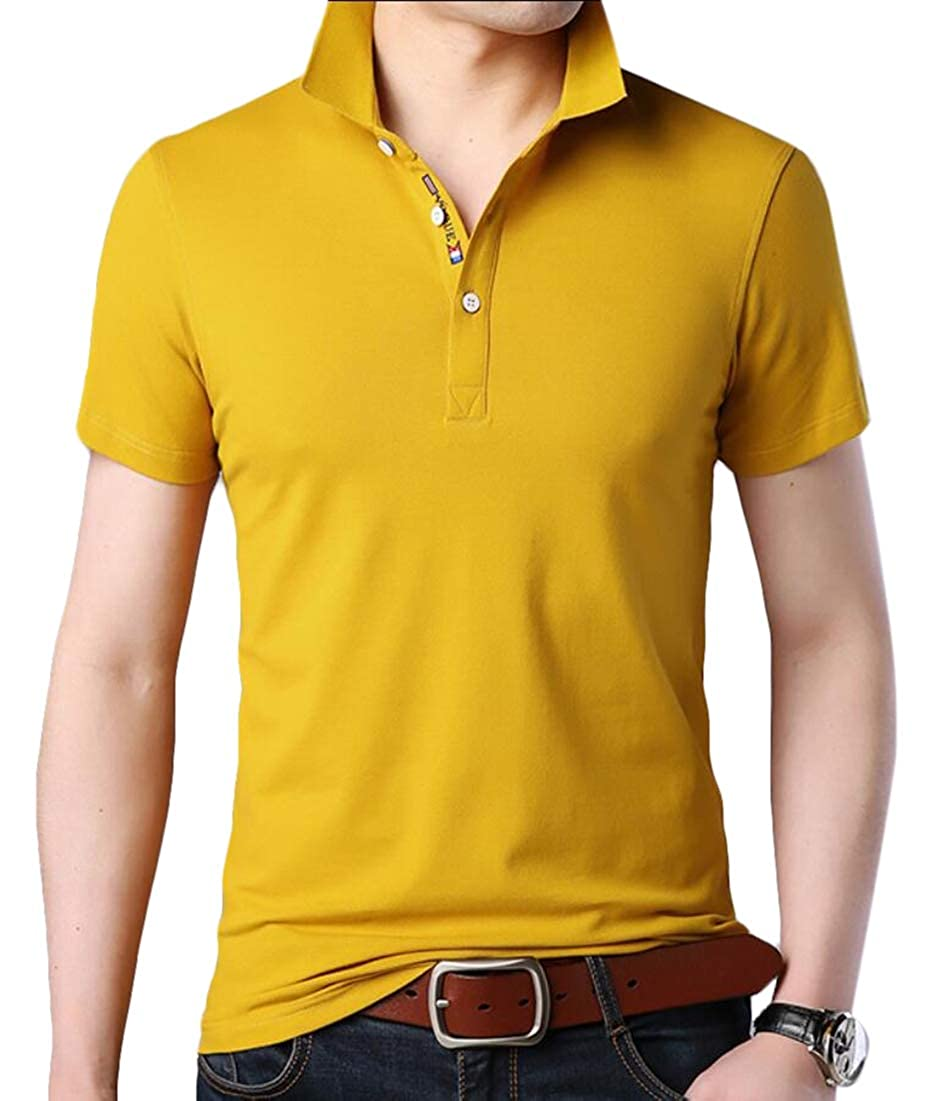 Beloved Men/'s Casual Shirts Pure Color Short Sleeve Polo Fashion T-Shirts