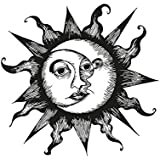 Stickerbrand Moon and Sun Wall Decal Sticker (Black color) 36in x 37in. Easy to Apply & Removable. #OS_AA815s