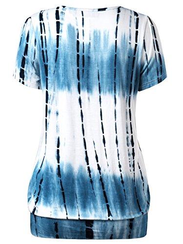 DJT-Mujeres Top Camiseta Mangas Cortas Cuello Redondo Azul Estampado