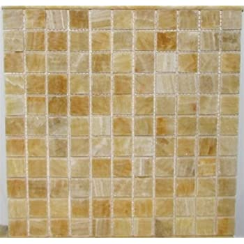 1x1 Honey Onyx Polished Mosaic Tiles