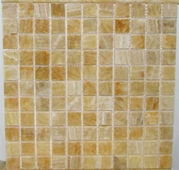 1x1 Honey Onyx Polished Mosaic Tiles