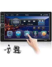 Hikity Double Din Car Stereo 7 Inch Touch Screen Car Radio with Bluetooth Car Video Player Support FM Mirror Link SWC AUX-in SD 2 USB Input + Backup Camera + External Microphone