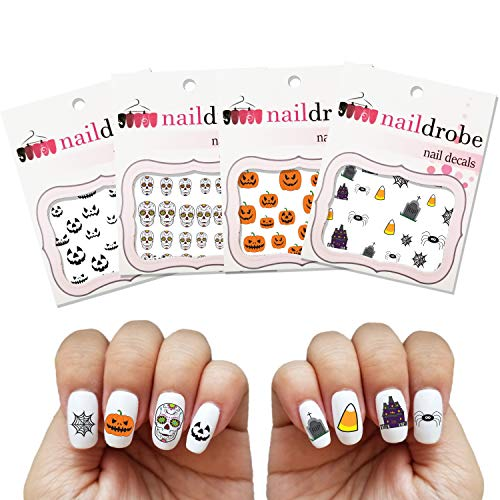 NAILDROBE 4 Pack Halloween Water Slide Tattoo Nail Art Decal Sets]()