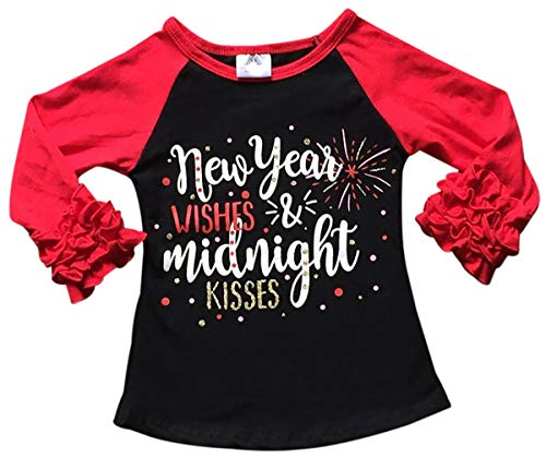 Little Girls Year Wishes Midnight Kisses Holiday T-Shirt Top Tee Kids Black Red 5 L (P202070P)