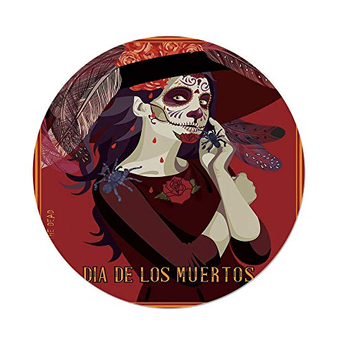 iPrint Polyester Round Tablecloth,Day Of The Dead Decor,Skull Dead Corpse Cute Girl with Hat and French Dress,Maroon Ruby and Burgundy,Dining Room Kitchen Picnic Table Cloth Cover,for Outdoor ()