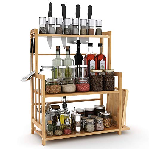 Tribesigns 3-Tier Standing Spice Rack Kitchen Bathroom Countertop Storage Organizer with Knife Holder & Chopping Board Rack, Bamboo Spice Bottle Jars Rack Holder with Adjustable ()