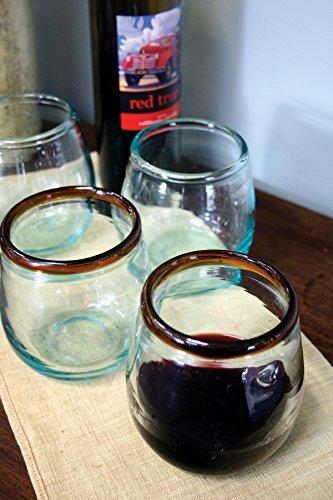 Kalalou CRL5141 STEMLESS WINE GLASS WITH AMBER RIM ()