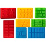 Youdepot Premium Silicone Molds Building Blocks and Robots Chocolate Molds Ice Cube Molds Candy Molds Set of 8