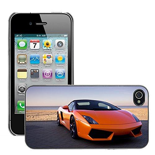 Premio Sottile Slim Cassa Custodia Case Cover Shell // V00002582 Luxueux sexy voiture de sport orange // Apple iPhone 4 4S 4G