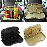 Sampton car Accessories Interior Storage Tray Car Travel Plastic Fold able Meal Drink Cup Tray Holder Mini Dining Table car Tray Back seat
