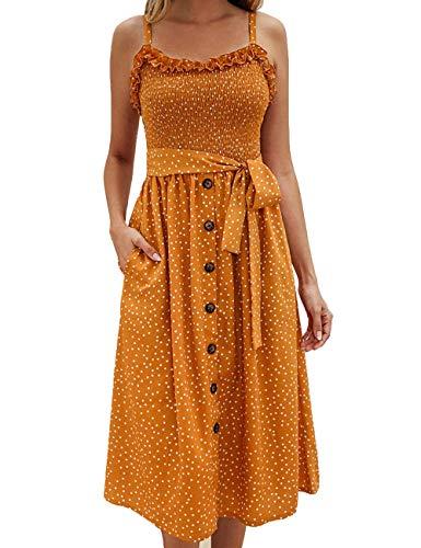 Yxiuexur Womens Summer Dresses Girls Casual Floral Beach Spaghetti Strap Boho Dress Button Down Swing Midi Dress Yellow L