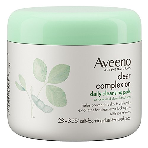 Aveeno Clear Complexion Daily Facial Cleansing Pads with Salicylic Acid Acne Treatment, 28 ct (Pack of 2)