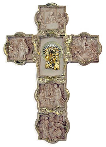 Story of Christ Budded Cross with Golden Holy Face of Christ