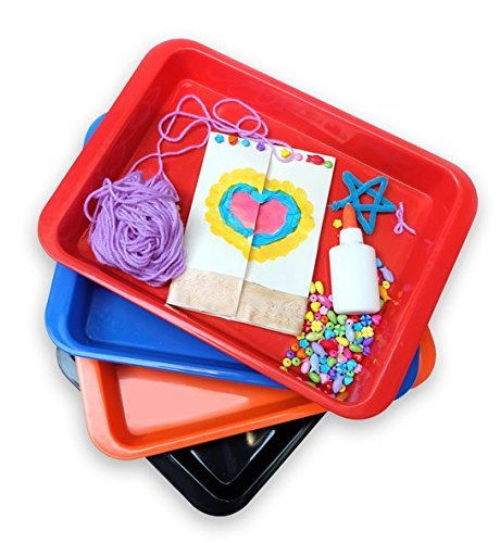 Activity Plastic Tray - Art + Crafts Organizer Tray, Serving Tray, Great for Crafts, Beads, orbeez Water Beads, Painting (Set of 4 - Red, Blue, Orange, Black) by Dab and Dot Markers