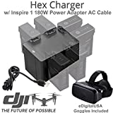 DJI HEX Intelligent Flight Battery Charger, CP.SB.000297 (Charge 6 Batteries & two Remotes Simultaneously) For DJI Inspire 1 Series TB47 & TB48 / Matrice 100 & 600 / Phantom 3 & 4 Remotes and more...