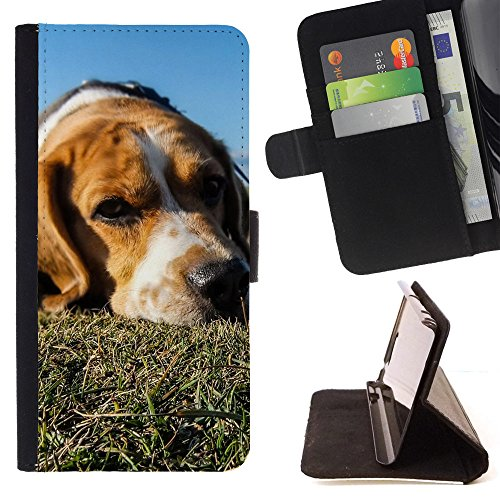 ICE CASE - FOR Apple Iphone 7 - Animal Dog Pet Sad - Painting Art Smile Face Style Design PU Leather Flip Stand Case Cover
