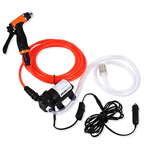 Electrical Car Wash Pump-12V DC Portable High Pressure Self-priming Quick Car Cleaning Water Pump Electrical Washer Kit for Watering Cleaning Home Car Use With Spray Hose Power Cord Input Hose by GOTOTOP (Image #9)