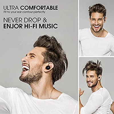 Wireless Earbuds Stereo Bluetooth Headphone Mini Sport in-Ear Earphone with MIC 6 Hour Playing Time with Charging Case-Black (2 Pieces)